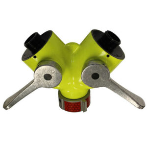 HIGH VISIBILITY 1 1/2″ FEMALE INLET X 2 1″ MALE OUTLETS WYE VALVE MODEL